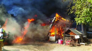 A fire off Franklin Canyon Road in Martinez rips through a structure the morning of Sunday, Aug. 30, 2015. (CONFIRE / Courtesy)