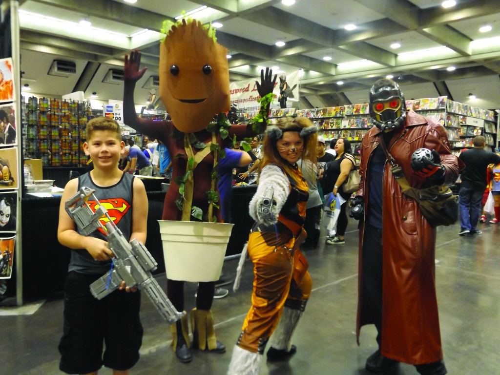 "Nine-year-old Martinez resident Logan W. (at left), poses with characters from ""Guardians of the Galaxy"" at Wizard World Comic Con in Sacramento. (CRYSTAL WILLETT / Martinez Tribune)"