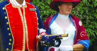 Redmond O Colonies, Martinez's official Town Crier (at left), pictured with partner Sheena Bonfield. Near the end of September, O Colonies will represent Contra Costa County at the World's Best Criers Competition in New Zealand. (REDMOND O'CONNELL / Courtesy)