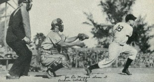 Joe DiMaggio at-bat while Hank Erickson is catching, circa 1936. (NATIONAL CHICLE)