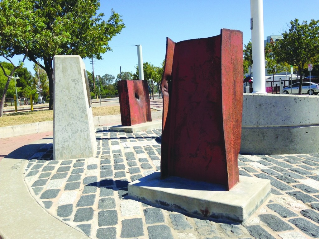 Pieces of the World Trade Center make up part of the 9/11 memorial near the Amtrak station in downtown Martinez. (DONNA BETH WEILENMAN / Martinez Tribune)