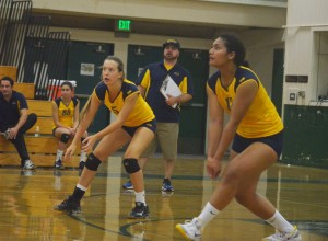 Alhambra's Ainise Taimani and Leslie Roofener look to make a pass in the Bulldogs' 3-1 loss to the Miramonte matadors in the Diablo Foothill Athletic League season opener on Thursday, Sept. 24, 2015. (GERARDO RECINOS / Martinez Tribune)