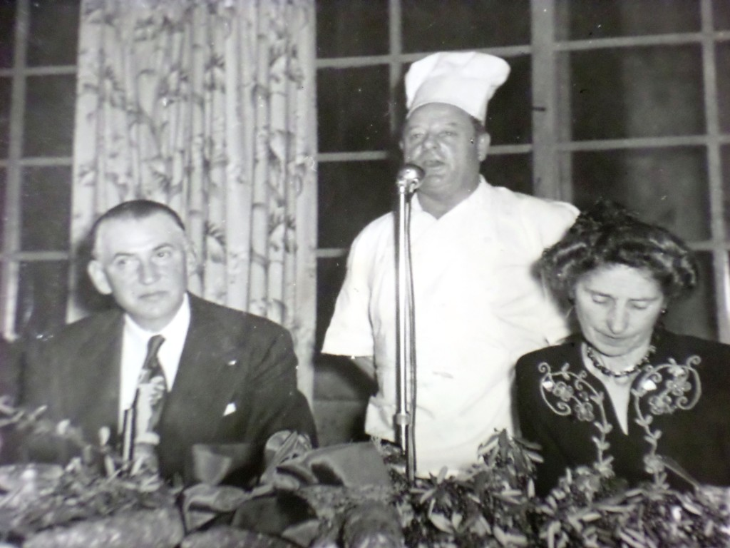 """Armando Olmeda (center), singing at Willows Restaurant in Orinda. The Italian Olmeda had a successful Martinez business before being banned to inland Orinda as an unnaturalized citizen during WWII. Roy Jeans, Olmeda's grandson, now owns the popular downtown music venue """"Armando's,"""" named after his grandfather. (ORINDA HISTORICAL SOCIETY LIBRARY)"""