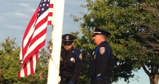 Martinez Police Detective Ryan Baillie and Officer Kevin Busciglio during a flag ceremony Sept. 11, 2015, at the Martinez 9/11 Memorial. (DONNA BETH WEILENMAN / Martinez Tribune)