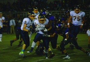 Alhambra running back Jonathan McCart ran for 177 yards and scored four times in the Bulldogs' 57-10 win over the Armijo-Fairfield Indians on Friday, Sept. 11, 2015.