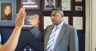 Manjit Sappal, formerly of the Richmond Police Department, is sworn in as Martinez Chief of Police, Monday, Aug. 31, 2015. Sappal will receive his badge in a public ceremony at 6 p.m. Sept. 16, at Martinez City Hall, 525 Henrietta St., Martinez. (MARTINEZ POLICE DEPARTMENT)