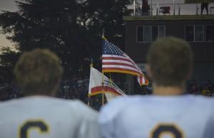 Armijo High School Color Guard presented the American flag prior to kickoff on Friday night. (GERARDO RECINOS / Martinez Tribune)