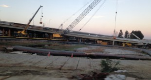 Work on the southbound offramp that curves over Marina Vista Avenue and Waterfront Road is expected to be complete by next month. Once re-opened, the exit will feature an emergency connector lane. (DONNA BETH WEILENMAN / Martinez Tribune)