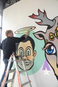 John Kleber creating a mural in his ARTU4iA studio at 725 Ward St., Suite C, Martinez. (KERI LUIZ / Martinez Tribune)