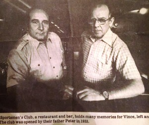 Vince (left) and Jack Amato at the Sportsmen's Club, which their father, Pete Amato, opened in 1933. (VINCE FERRANTE / Courtesy)
