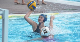 Alhambra junior water polo player Daria Dragicevic takes a shot on goal against the Las Lomas Knights on Wednesday, Oct. 21, 2015. (GERARDO RECINOS / Martinez Tribune)