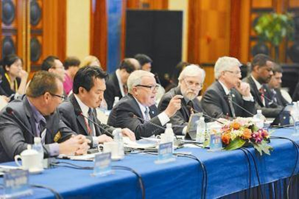 "Mayor Rob Schroder (center), speaks at a conference during the ""Silicon Valley Mayors China Trip."" (COURTESY / On File)"
