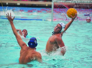 Alhambra senior captain Nick Lucido (pictured above against Campolindo) had four goals in the Bulldogs' 18-8 loss to the Las Lomas Knights on Wednesday, Oct. 21, 2015. (GERARDO RECINOS / Martinez Tribune)