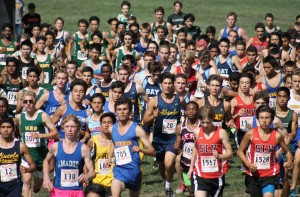Noa Nabeshima (center, 20) works his way to the front of the pack at the start of the varsity boys' race at the Artichoke Invitational at Half Moon Bay High School on Saturday, Oct. 3, 2015. Nabeshima came in eighth. (DARREN CHAVEZ / Courtesy)