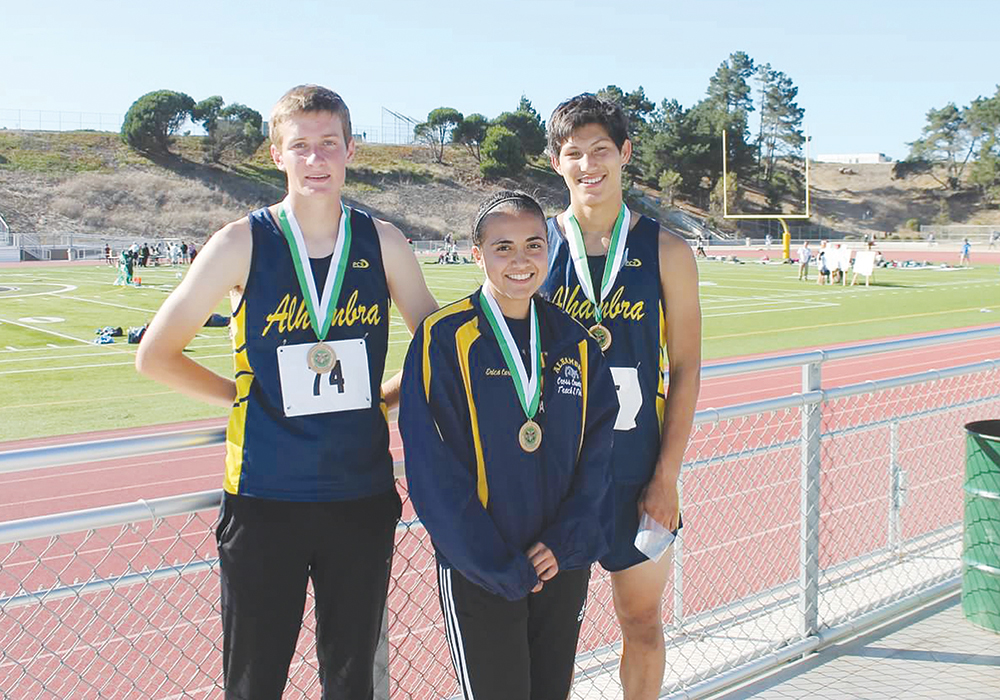 Alhambra's medal winners at the Ram Invitational at Westmoor High School in Daly City, on Saturday, Sept. 26, 2015. From left, Robert Viano, Erica Cardinale and Noa Nabeshima. (DARREN CHAVEZ / Courtesy)