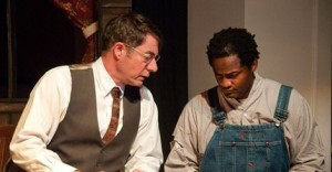 "Atticus (Paul Cotton) and Tom Robinson (Keith Thompson), during a performance of ""To Kill a Mockingbird"" at the Martinez Campbell Theatre. (BAY AREA STAGE PRODUCTIONS / Courtesy)"