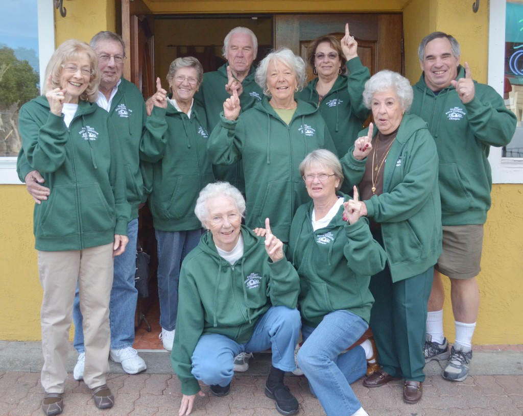 Members of the Carquinez Straits bocce team celebrate with their brand new green hoodies after winning the Senior Green Division that plays on Friday nights. Members of the team that met up to celebrate on Thursday, Nov. 5, include: Norma Della Rosa, Leo Ellingson, Darlene Gotelli, Doris, Dottie, John, Marilyn Halgin, Tony Fiorica, Barbara Fiorica and Everett Dellla Rosa. (GERARDO RECINOS / Martinez Tribune)