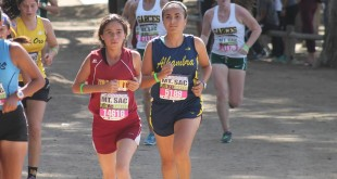 Alhambra's Erica Cardinale (pictured above at the Mt. San Antonio College meet) set a new personal best in the 2.95-mile course at Shadow Cliffs in Pleasanton last Wednesday, Oct. 28, 2015, with a time of 21 minutes. (DARREN CHAVEZ / Courtesy)