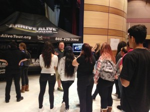 Alhambra High School students line up to try the Arrive Alive simulator Nov. 19, 2015, set up in the Performing Arts Building at AHS. (DONNA BETH WEILENMAN / Martinez Tribune)