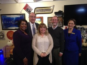 California State Senator Steve Glazer (D-Orinda), second from right, stands with his hosts of a meet-and-greet stop in Martinez, Nov. 18, 2015. From left are: Deborah Vinson, trustee of the Antioch Unified School District; Gus Kramer, Contra Costa County assessor; Diane Burgis, member of the East Bay Regional Park Board of Directors; Glazer and Martinez City Councilmember AnaMarie Avila Farias. (ANAMARIE AVILA FARIAS / Courtesy)