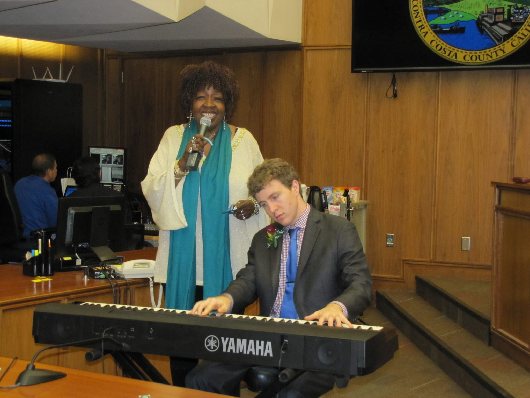 Faye Carol (at left) performed at the Dr. Martin Luther King Jr. 38th Annual Commemoration and Humanitarian of the Year Awards Tuesday, Jan. 19, 2016, accompanied by Joe Warner on the piano.  The awards ceremony was held in the Contra Costa County Board of Supervisors chambers. (HANNAH HATCH / Martinez Tribune)