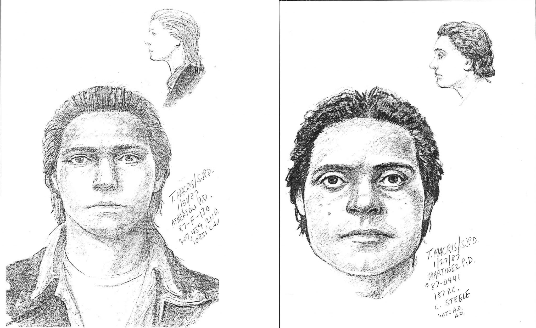 "Two drawings of a suspect wanted in connection with the 1987 murder of 9-year-old Martinez boy, Eric Coy. The suspect was described in 1987 as a male, 18-21 years of age, of Latin or Italian descent, with a light complexion. The suspect is also described as being 5-foot-8, approximately 165 pounds, dark eyes, with a muscular build and black, combed-back, medium-length hair. He was purportedly wearing faded Levi pants, a Levi jacket and light-colored tennis shoes. He was last seen carrying a collapsible-type ""short"" umbrella. The 1987 police report states there's reason to believe the suspect had been ""lying in wait"" prior to contact with the victim. The report also states there was no determination of possible motive and the attack appeared to be ""totally unprovoked."" (COURTESY / On File)"