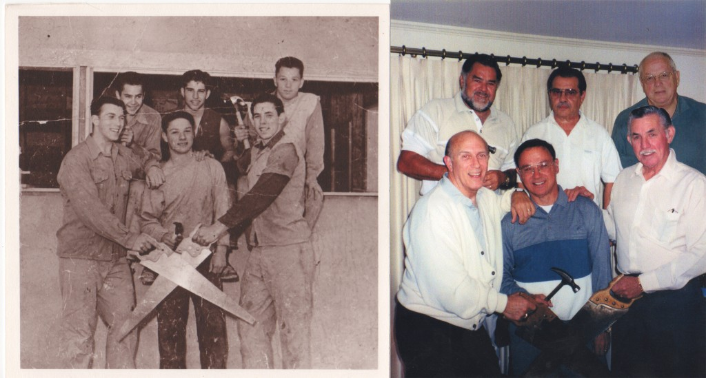 In the early 1950s (at left) and more recently at their 40-year reunion (at right), are (clockwise from lower left): Cat Russo, Bob Haisley, Nat Russo, Al Marazzani, Ray Robbins and Toni Cellini. (COURTESY / On File)