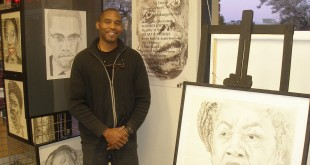 "Artist B Jaxon stands next to some of his pieces on display at ""I've Been Framed"" in downtown Martinez, during Black History Month 2011. To view Jaxon's work, visit http://www.themcamo.org. (COURTESY / On File)"