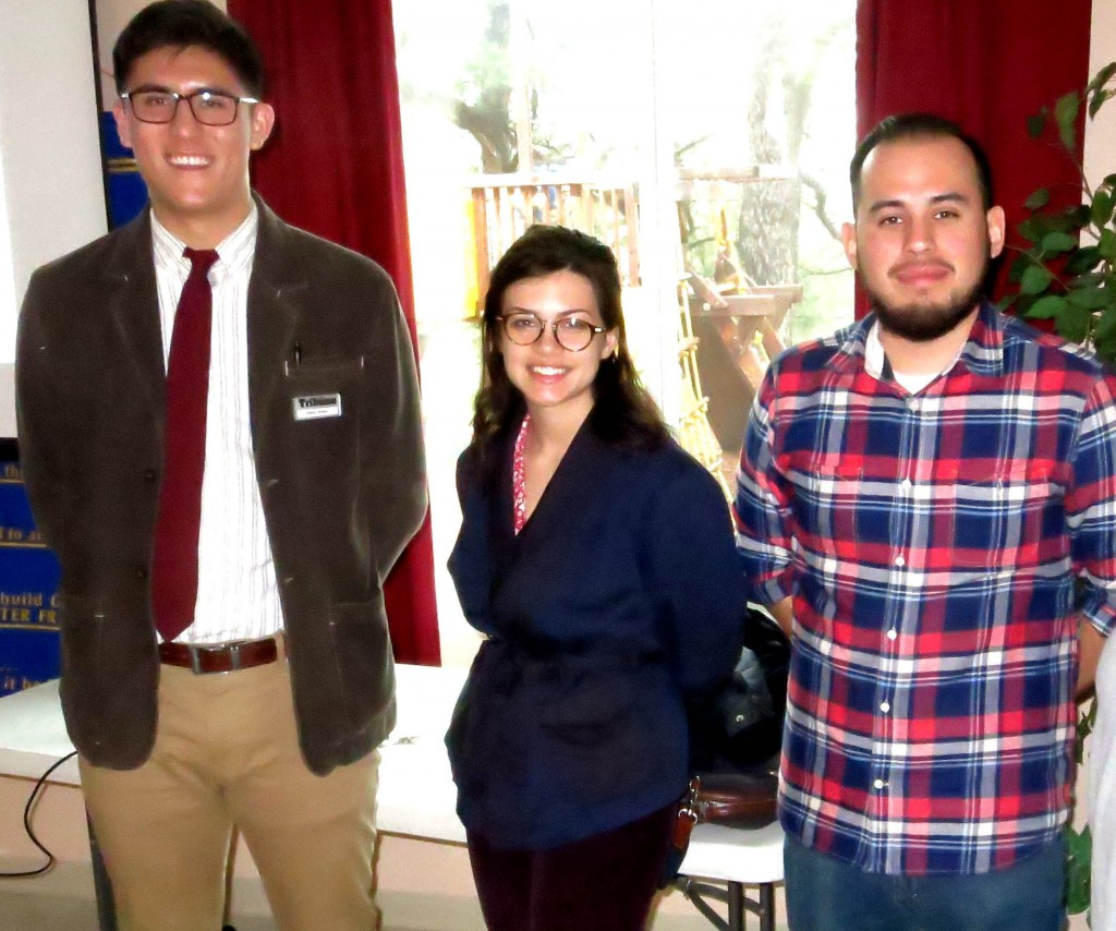 Tribune staffers (from left): Danny Yoeono, Hannah Hatch and Gerardo Recinos at the Wednesday, March 9, 2016, meeting of Martinez Rotary. (PAUL CRAIG / Courtesy)