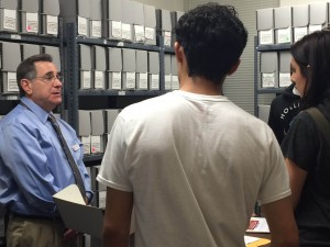Contra Costa County History Center Volunteer John Greitzer (far left) gives students from Deer Valley High School in Antioch a tour of the Center's archives. (CONTRA COSTA COUNTY HISTORICAL SOCIETY / Courtesy)