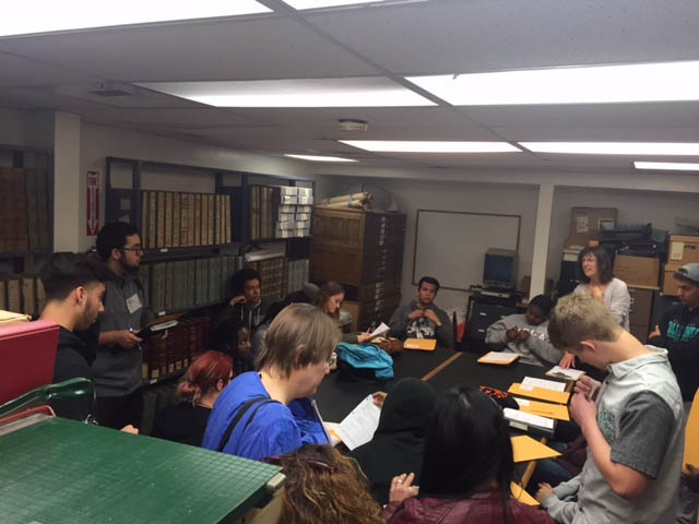 Students receive assignments from Priscilla Couden, executive director of the Contra Costa County Historical Society, during a visit to the History Center Thursday, March 17, 2016. (CONTRA COSTA COUNTY HISTORICAL SOCIETY / Courtesy)