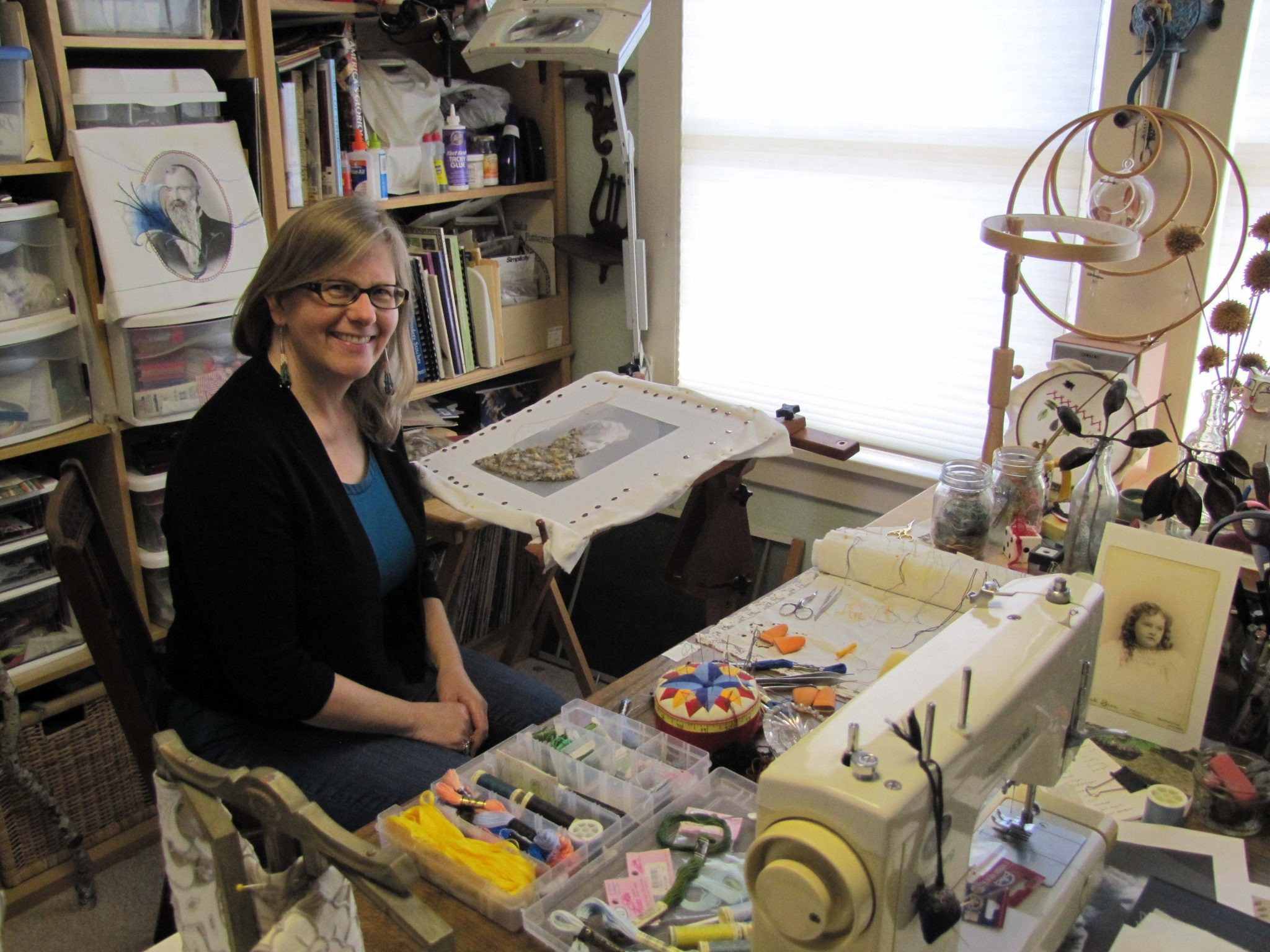 Susan Sharman in her creative space at home in Martinez. (HANNAH HATCH / Martinez Tribune)