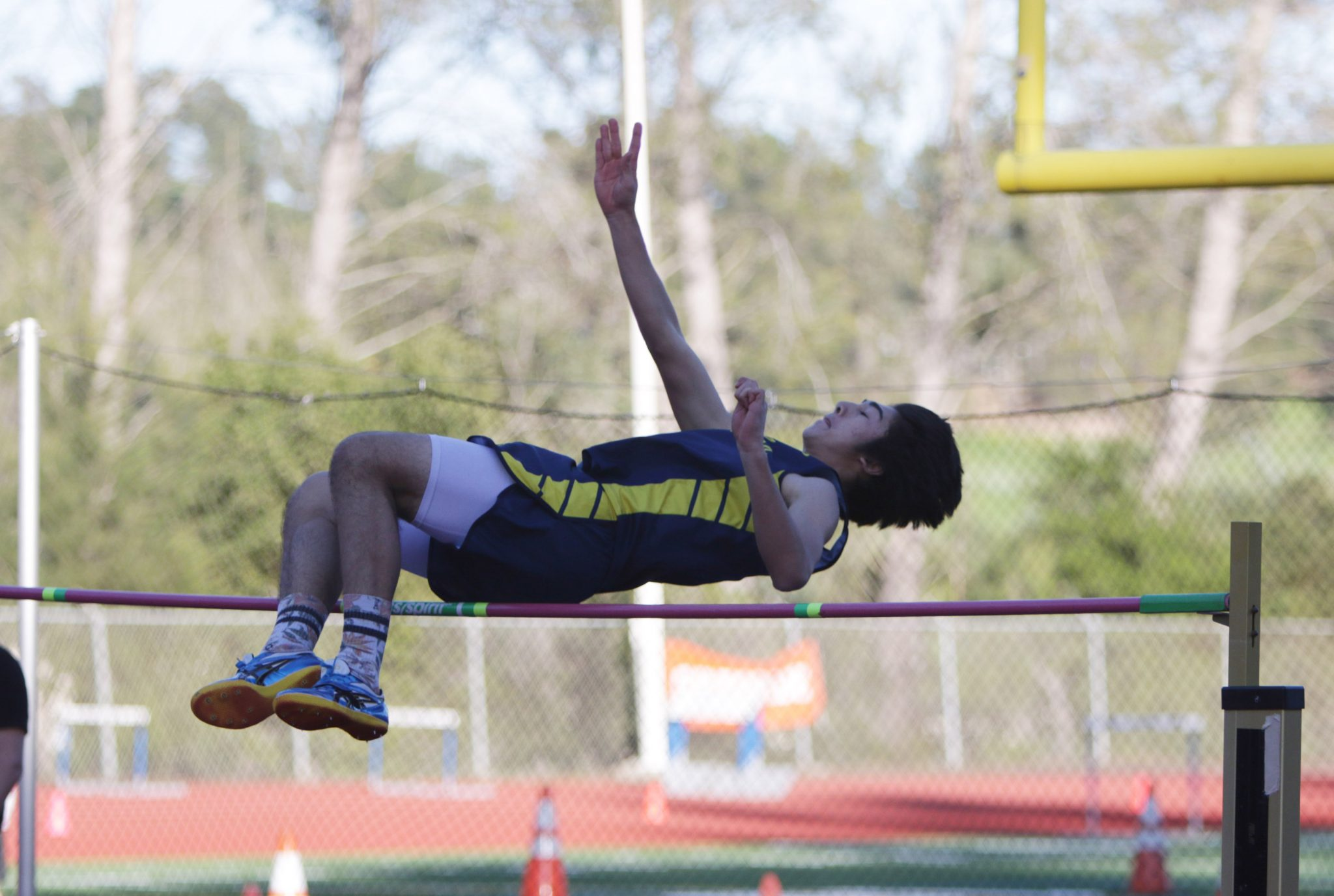 Alhambra high jumper James Cretan (pictured above in a league dual meet on March 16) took first place in the high jump by clearing 5 feet 10 inches in the Oakland Invitational at Chabot College in Hayward on Saturday, March 26, 2016. Cretan beat out teammate Jackson Norried, who also cleared 5 feet 10 inches, but Cretan cleared the jump with less misses. (GERARDO RECINOS / Martinez Tribune)