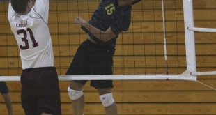 Alhambra senior Jerald Jionoran (pictured above against Las Lomas) rises up to try and record a kill. Jionoran had six kills, one block and 14 digs in the 3-0 win over Campolindo on April 22, 2016. (MARK FIERNER / Martinez Tribune)