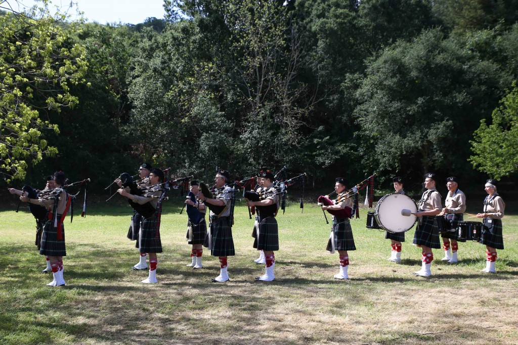 Piedmont Highlanders Pipe and Drum Band get ready for their performance during the annual celebration of John Muir's birthday and Earth Day at the John Muir House in Martinez on Saturday, April 23, 2016. (EMILIA ROSALES / Martinez Tribune)
