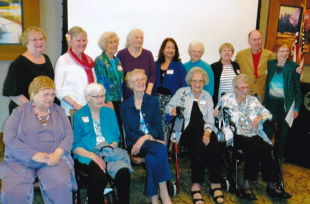 """Contra Costa Regional Medical Center honored volunteers at their 48th Annual Awards Luncheon Wednesday, April 13, 2016. Pictured are """"High achievers,"""" those with more than 1,000 service hours. Front row, from left: Beverly Annis (4 years, 1,400 hours), Clair Mann (24 years, 5,200 hours), Shirley Peterson (21 years, 6,500 hours), Ellsbeth Donavan (22 years, 8,000 hours), Doris Greene (23 years, 16,082 hours); back row, from left: Pat Evans (18 years, 8,700 hours), Pat Harris (13 years, 2,800 hours), Lorna Aylard (21 years, 3,400 hours), Florence Berghuis (7 years, 1,900 hours), Josepina Rayas (7 years, 1,000 hours), Betty Holt (21 years, 6,200 hours), Linda Waxman (7 years, 3,800 hours), Bill Cunningham (11 years, 6,200 hours), and Deloris McDonald (20 years, 3,900 hours). (COURTESY / On File)"""
