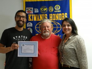 From left: Justin Gomez of States Coffee; April program chair Emmett Schumer; and Kiwanis president Lorena Castillo. (GAY GERLACK / Courtesy)