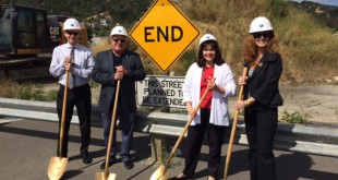 From left: Martinez City Councilman Mark Ross, Mayor Rob Schroder, and Councilwomen Debbie McKillop and Lara DeLaney at the Phase 3 groundbreaking Friday, May 20, 2016. (CITY OF MARTINEZ / Courtesy)