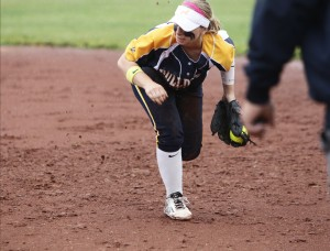Bulldogs infielders Karlee Sparacino (pictured above against College Park) had seven RBIs in the 20-1 win over Las Lomas  on May 19. That takes her regular season total to 53, a new record for Alhambra's softball program. (GERARDO RECINOS / Martinez Tribune)