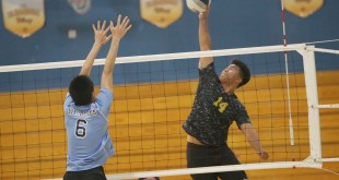Alhambra senior Kyle Magtibay (pictured above) had 12 kills in the Bulldogs' 3-1 loss to Dougherty Valley on Friday, April 29, 2016. (MARK FIERNER / Martinez Tribune)