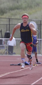 Alhambra senior Paul Bromley won three events on the day, the 100-meters, 200 meters, and triple jump (pictured above), on May 4, 2016. (MARK FIERNER / Martinez Tribune)