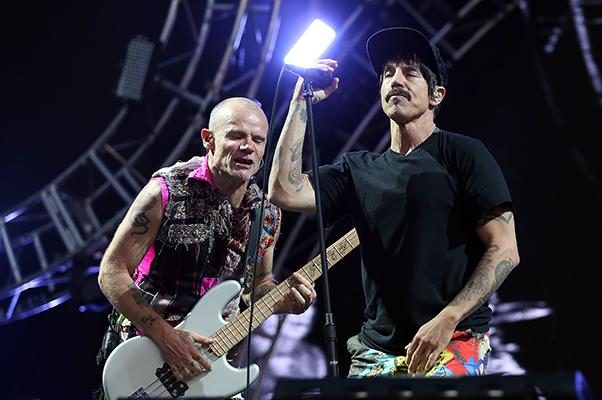 © DANIEL GLUSKOTER Flea and Anthony Kiedis of the Red Hot Chili Peppers during their headlining performance at BottleRock.