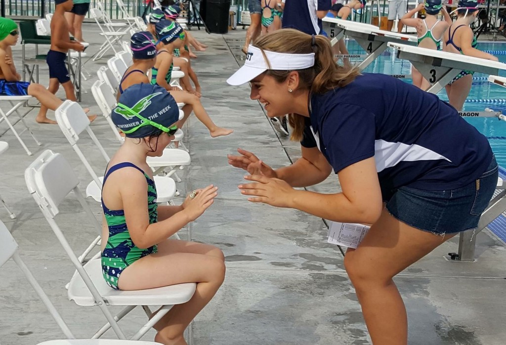 Coach Courtney Butler gets Matilda Davoren ready for her first race of the season at the New Swimmers Meet on Saturday, June 4, 2016. (LAUREL PUREWAL / Courtesy)