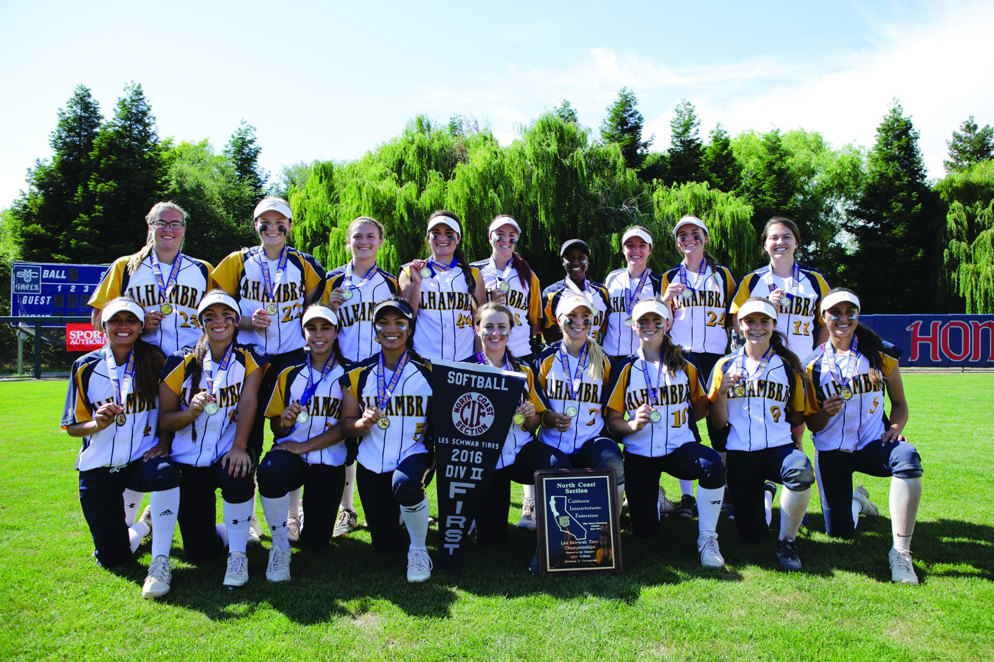 The Alhambra High School Varsity Girls Softball Team takes home the North Coast Section Division II Championship June 4, 2016. (MARK FIERNER / Martinez Tribune)
