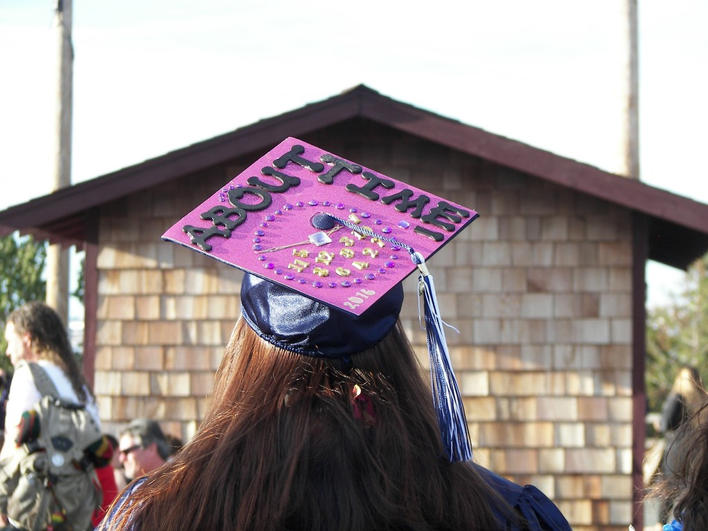 """About Time"" is the statement one Vicente Martinez, Briones High School grad wanted to make at the June 8 commencement ceremony. (E. CLARK / Martinez Tribune)"