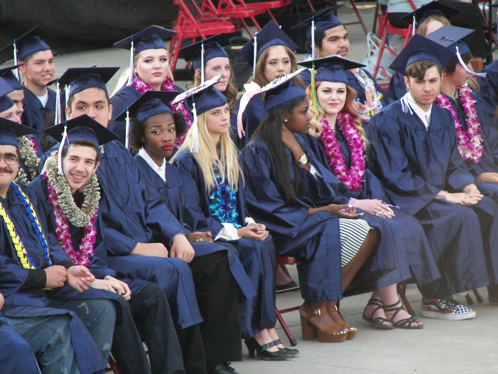 Vicente Martinez and Briones High School seniors waiting for their diplomas to be distributed. (ERIN CLARK / Martinez Tribune)