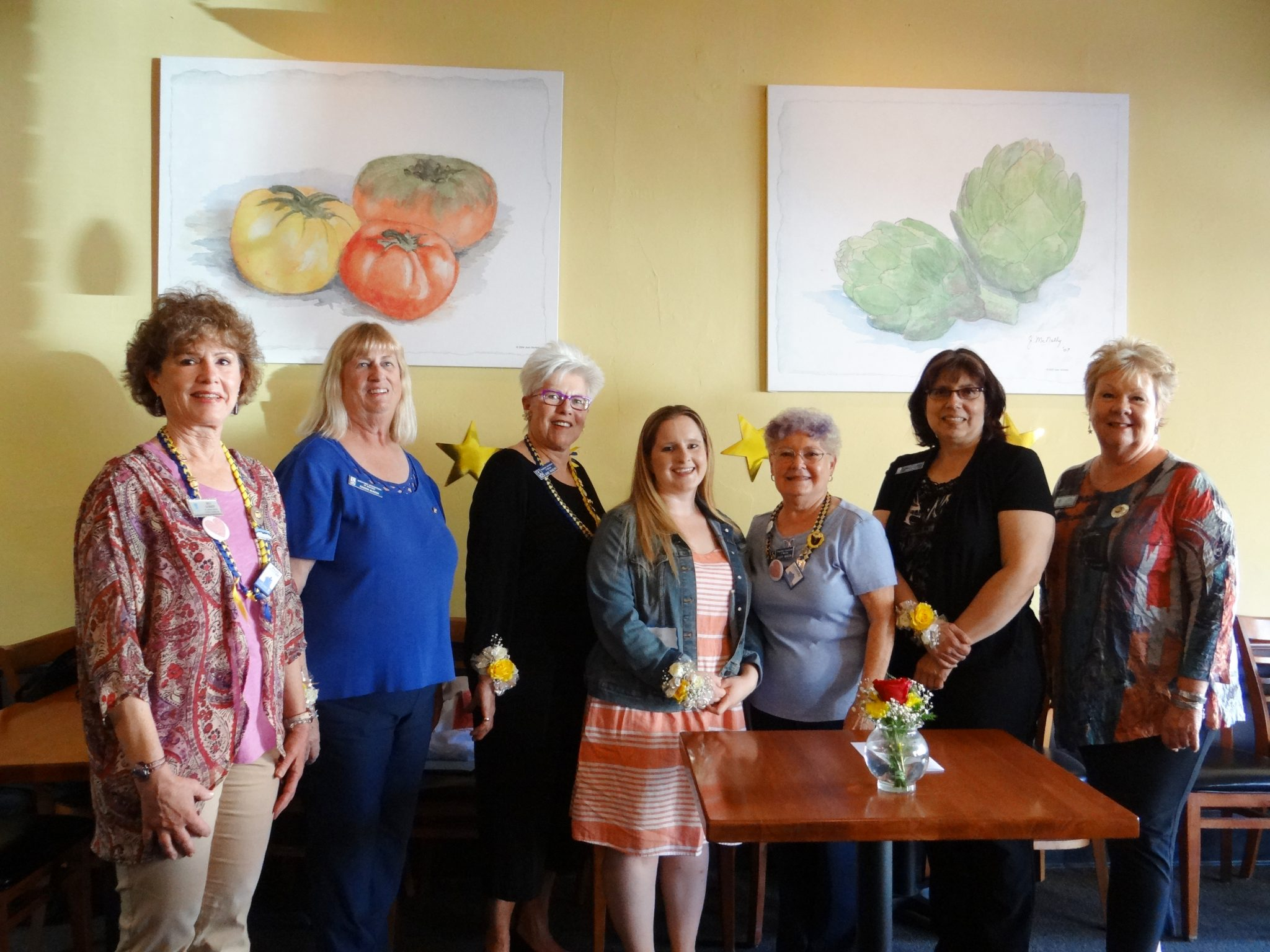 From left: District II Director Beverly Gomer; Vice President Kendra McKeen; Treasurer June Rogers; Secretary Sara Lawson; President Judy Moon; Club Director Ann Stanley; and Governor Elect Pam Parker at Haute Stuff restaurant in Martinez. (COURTESY / On File)
