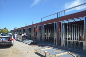 The new Vicente Martinez and Briones High School campus is taking shape along Susana Street in downtown Martinez. The campus is expected to be completed this fall. (GERARDO RECINOS / Martinez Tribune)
