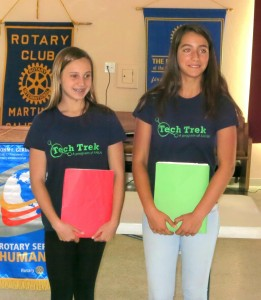 Amy Beaty and Lexi Alford describing their great Tech Trek week during  a recent meeting of the Martinez Rotary club. (PAUL CRAIG / Courtesy)