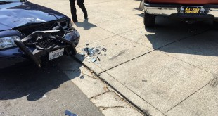 The front bumper of a Martinez Police vehicle after being rammed by a pick-up truck during a pursuit. Thankfully, the police officer and K9 inside the vehicle were unharmed during the incident. (MARTINEZ POLICE / Courtesy)